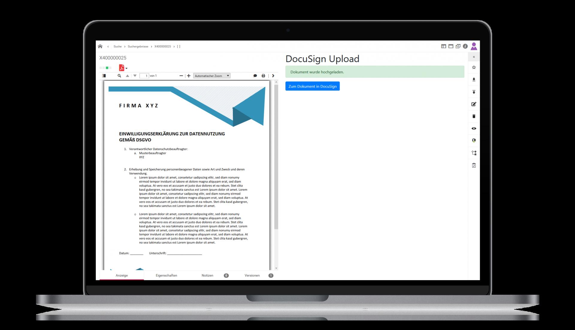 Integration d.3ecm mit DocuSign