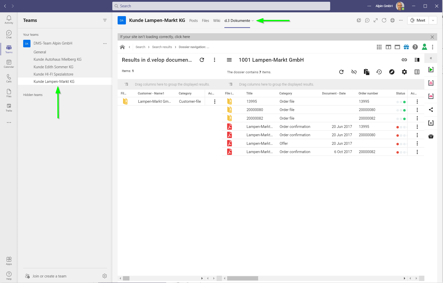 Integration Microsoft Teams und d.3ecm
